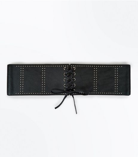 Black Studded Corset Lace Up Belt | New Look