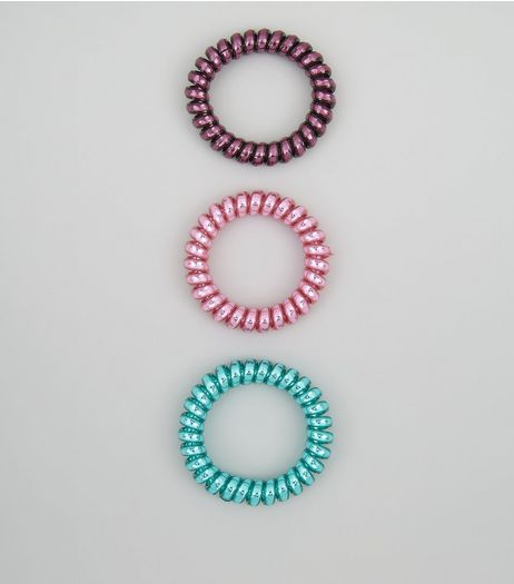 3 Pack Pink Purple and Green Metallic Spiral Hair Bobbles | New Look