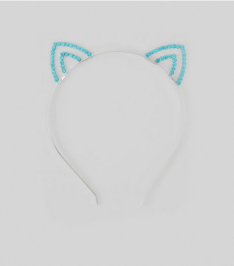 Blue Diamante Cat Ear Headband | New Look