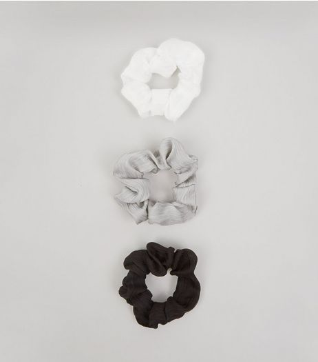 3 Pack White Grey and Black Chiffon Scrunchies | New Look