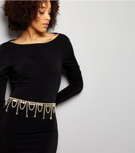 Gold Disc Loop Chain Belt | New Look