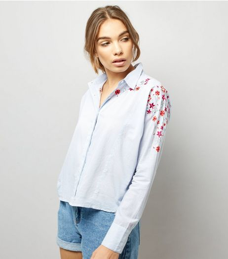 Blue Stripe Floral Embroidered Boxy Shirt  | New Look