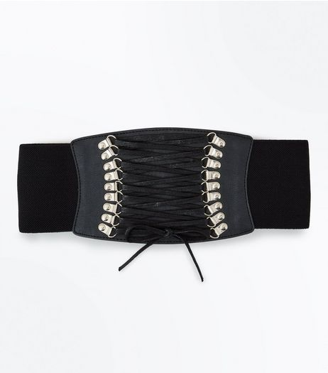 Black Lace Up Eyelet Corset Belt | New Look
