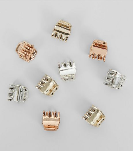9 Pack Rose Gold Silver and Gold Mini Bulldog Clips | New Look