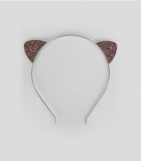 Black Irisdescent Glitter Cat Ears | New Look