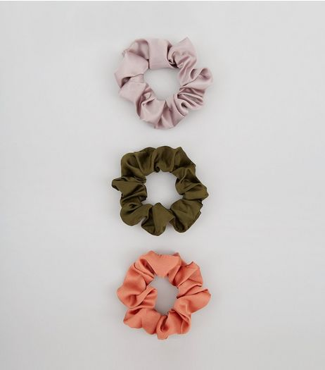 3 Pack Satin Scrunchies | New Look