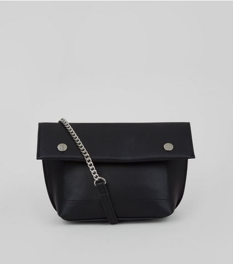 Black Stud Detail Fold Over Cross Body Bag | New Look