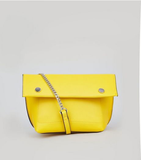 Yellow Stud Detail Gold Over Cross Body Bag | New Look