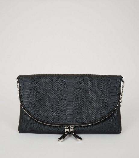 Black Snakeskin Texture Zip Top Cross Body Bag | New Look