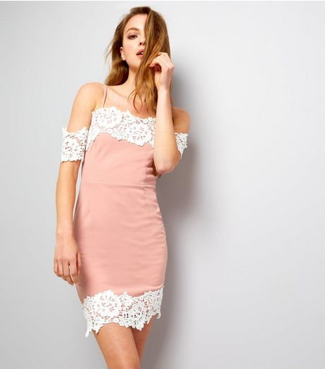Parisian Pink Lace Trim Cold Shoulder Bodycon Dress | New Look