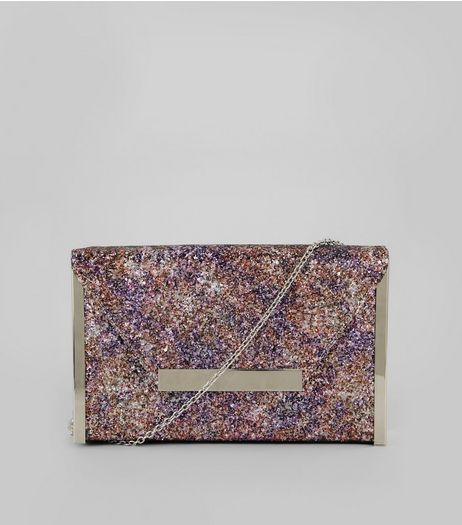 Purple Glitter Envelope Box Clutch Bag | New Look