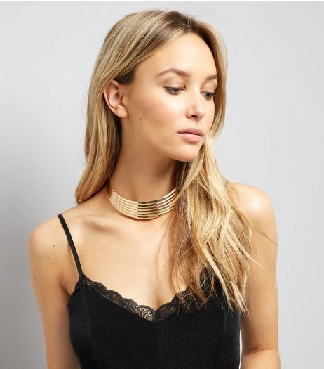 Gold Piped Layered Choker | New Look