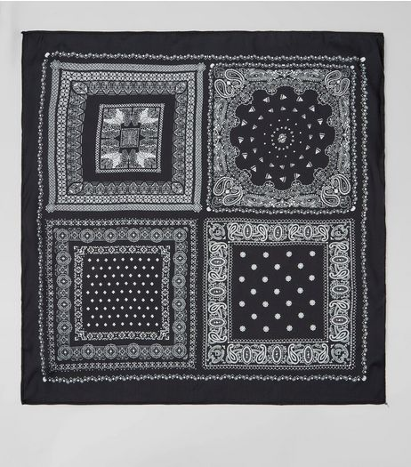 Black Satin Patchwork Print Bandana | New Look
