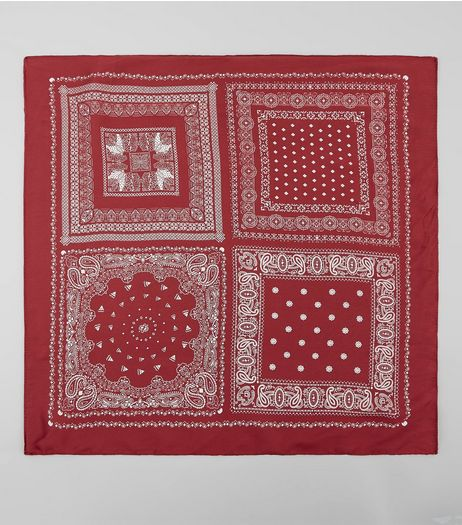 Red Satin Patchwork Print Bandana | New Look