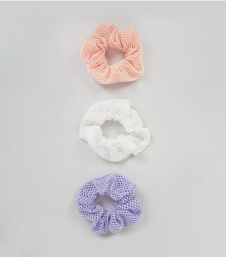 3 Pack Purple White and Pink Mesh Scrunchies | New Look