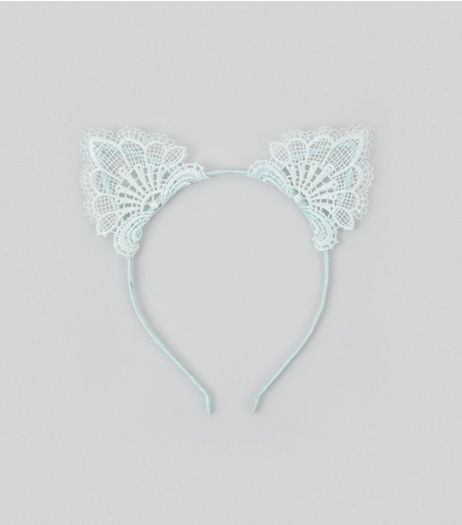 Mint Green Lace Cat Ears  | New Look