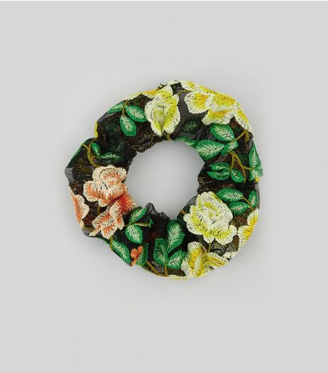 Black Floral Print Mesh Scrunchie | New Look