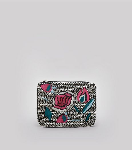 Black Floral Embroidered and Embellished Purse | New Look