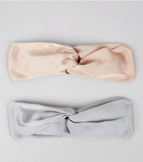 2 Pack Pink and Grey Satin Twist Top Hair Bands | New Look