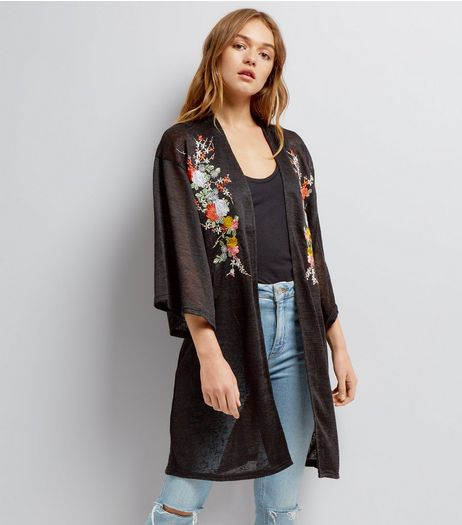 Blue Vanilla Black Floral Embroidered Cardigan  | New Look