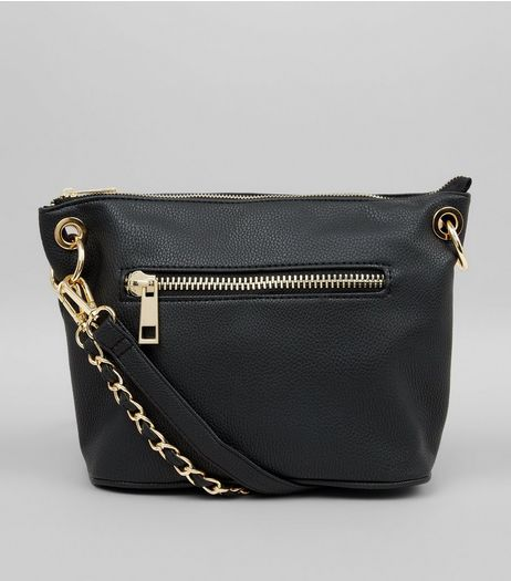Black Chain Strap Cross Body Bag | New Look