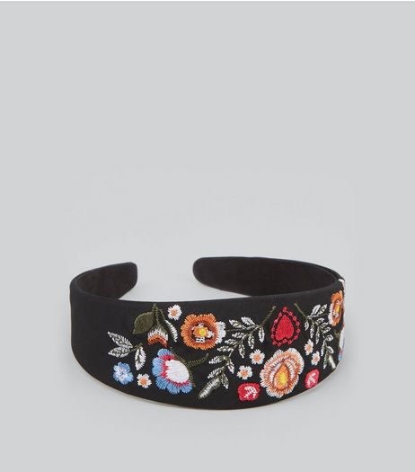 Black Floral Embroidered Headband | New Look