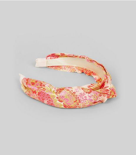 Pink Satin Floral Brocade Knot Top Headband | New Look