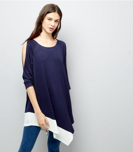 Blue Vanilla Navy Cold Shoulder Tunic | New Look