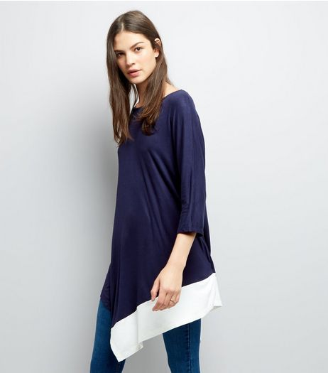 Blue Vanilla Navy Asymmetric Hem Tunic | New Look
