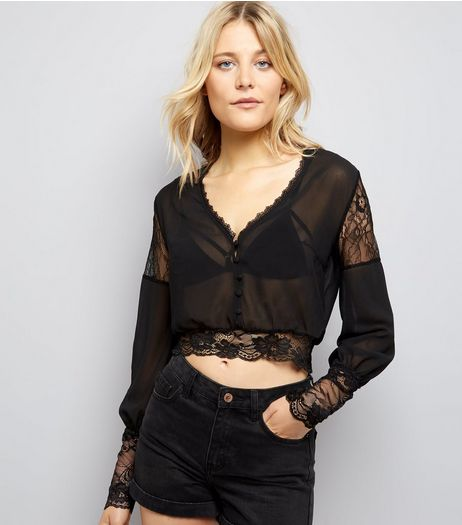 Pink Vanilla Black Lace Trim Blouse | New Look