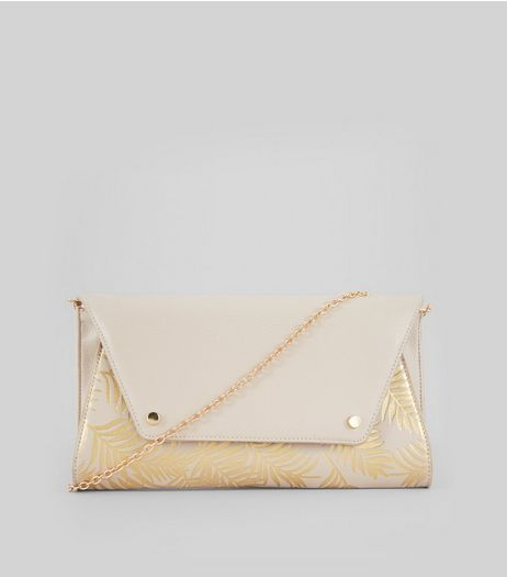 Gold Metallic Palm Print Clutch Bag | New Look