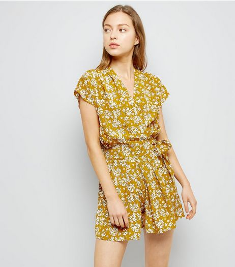 Pink Vanilla Yellow Floral Print Playsuit  | New Look