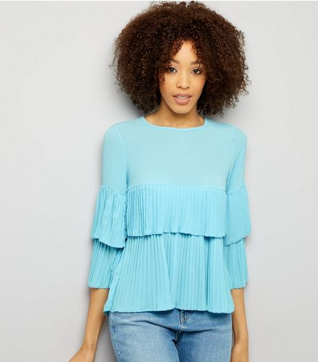 Pale Blue Pleated Frill Trim Top  | New Look