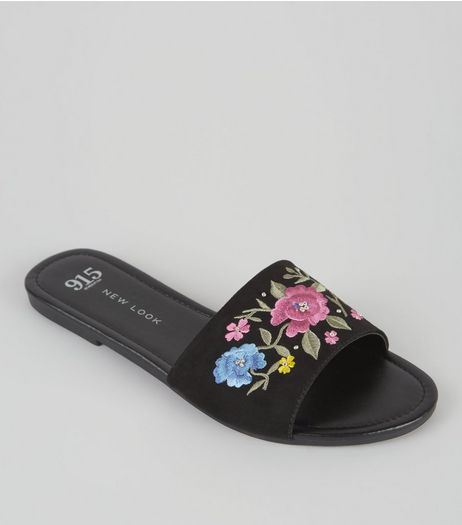 Teens Black Floral Embroidered Mules | New Look