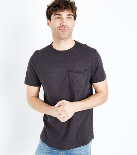 Dark Grey Pocket Front Curved Hem T-Shirt | New Look