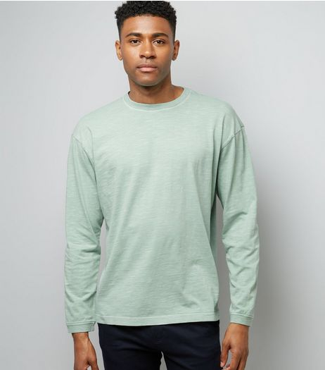 Mint Green Round Neck Long Sleeve T-Shirt | New Look