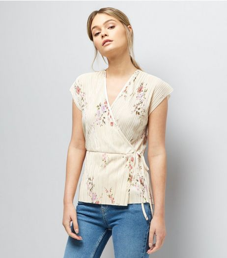 Cream Floral Print Pleated Wrap Front Top | New Look