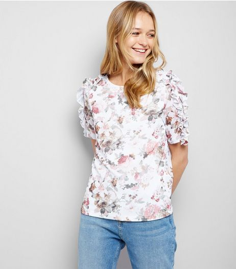 White Mesh Floral Print Frill Trim T-Shirt | New Look