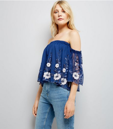 Blue Mesh Floral Embroidered Bardot Neck Top | New Look