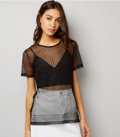 Black Contrast Fishnet Boyfriend T-Shirt  | New Look
