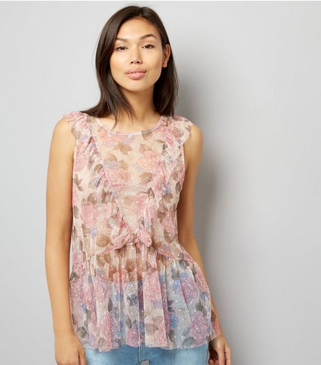 Pink Mesh Rose Print Frill Trim Vest  | New Look