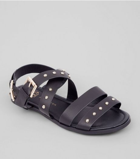 Teens Black Stud Gladiator Sandals | New Look