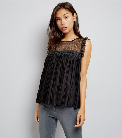 JDY Black Pleated Lace Panel Sleeveless Top | New Look