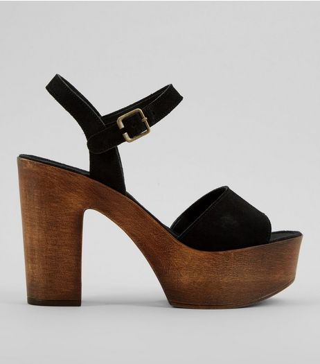 Black Suede Wooden Block Heeled Sandals | New Look