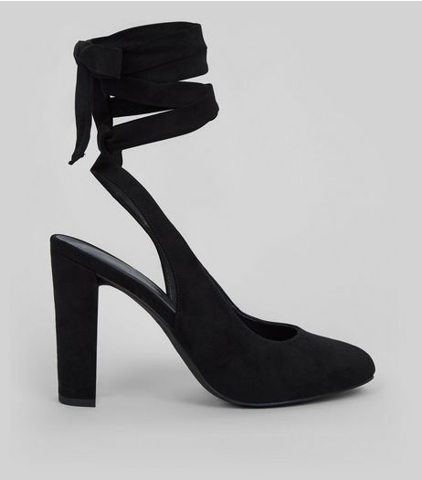 Black Suedette Tie Up Block Heels  | New Look