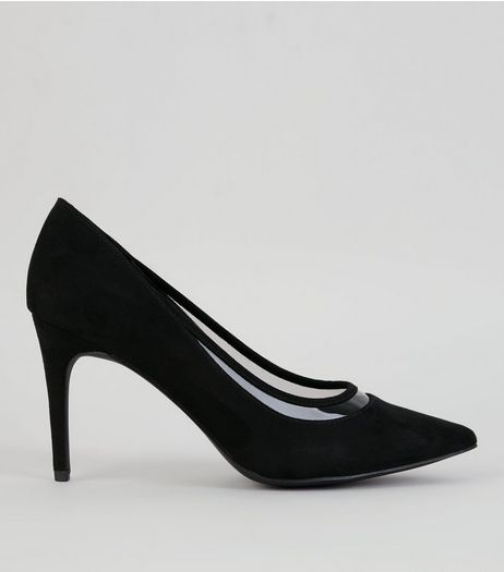 Black Suedette Clear Trim Court Shoes | New Look