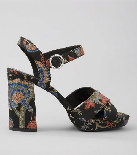 Black Brocade Platform Block Heels | New Look