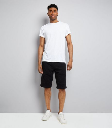 Black Textured Longline Shorts  | New Look