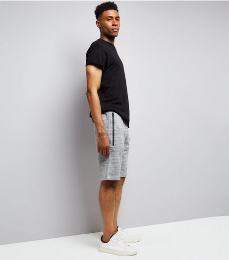 Mid Grey Textured Longline Shorts  | New Look