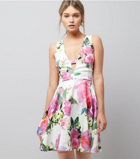White Floral Print Bar Front Skater Dress  | New Look